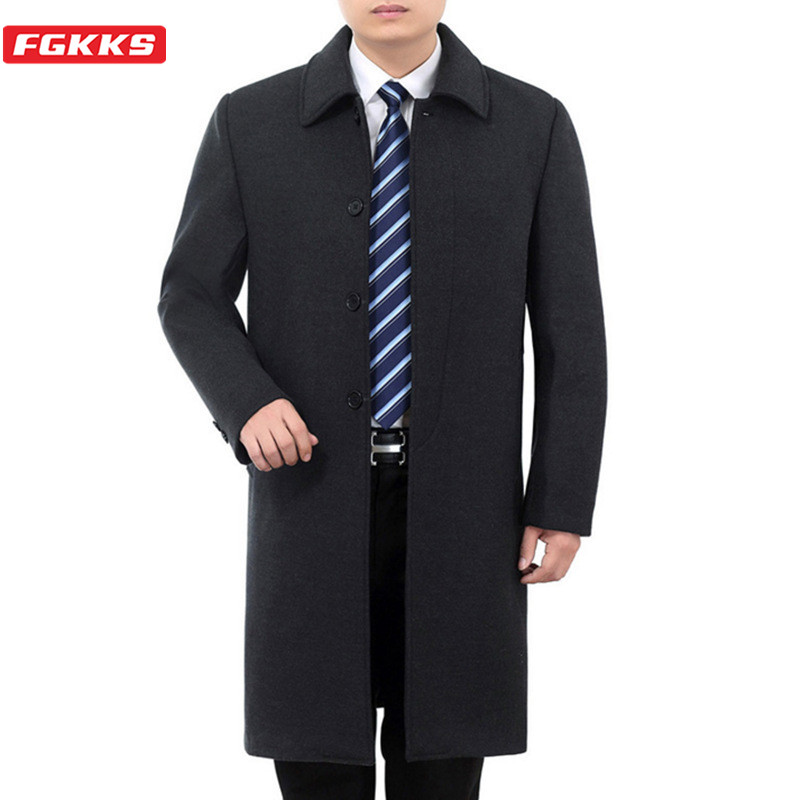 FGKKS Winter Men Wool Blend Coats Male Brand High Quality Business Wool Coat Men's Plus Velvet Thick Long Section Wool Overcoat