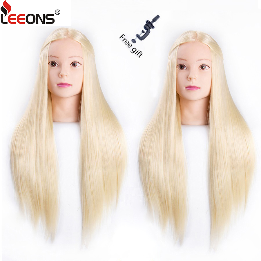 Leeons 65Cm Mannequin Head With Hair Training Head Hair Practice Barber 7Styles Hair Training Head For Hairstyles With Free Gift