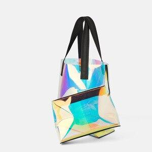 Image 4 - Lazer Hologram şeffaf çanta PVC şeffaf Tote çanta yeni moda büyük omuzdan askili çanta yaz plaj büyük kapasiteli alışveriş çantaları