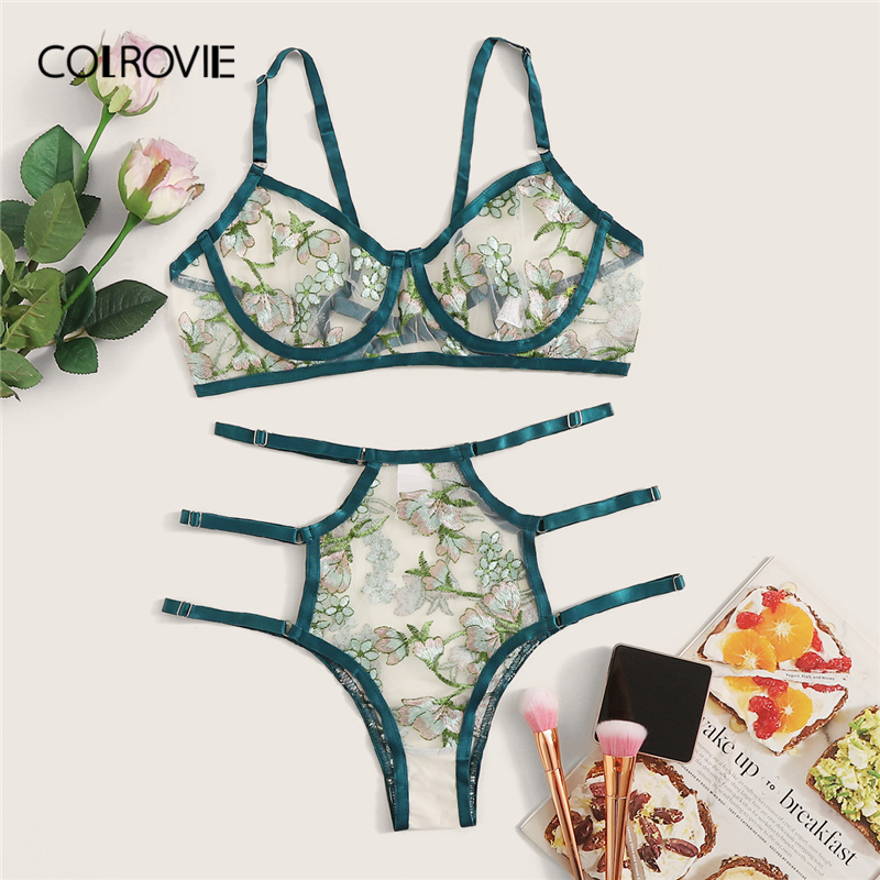COLROVIE Green Floral Embroidered Sheer Lingerie Set Women Underwire Intimates 2019 Cut Out Bra And Thongs Ladies Sexy Sets