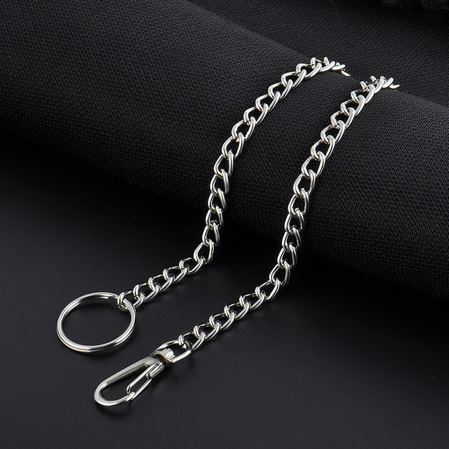 High Quality 38cm Long Metal Keyring Keychain Silver Chain Hipster Pant Jean Key Wallet Belt Ring Clip Men's HipHop Jewelry 4