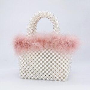 Image 3 - Bolsa de noite da pérola da pele do falso das mulheres mão tecido panelled frisado tote bolsas e bolsas feminino bonito bolsa de ombro jantar festa novo