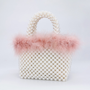 Image 3 - Faux Fur Pearl Evening Bag Women Hand Woven Panelled Beaded Tote Purses And Handbags Female Cute Shoulder Bag Dinner Party New