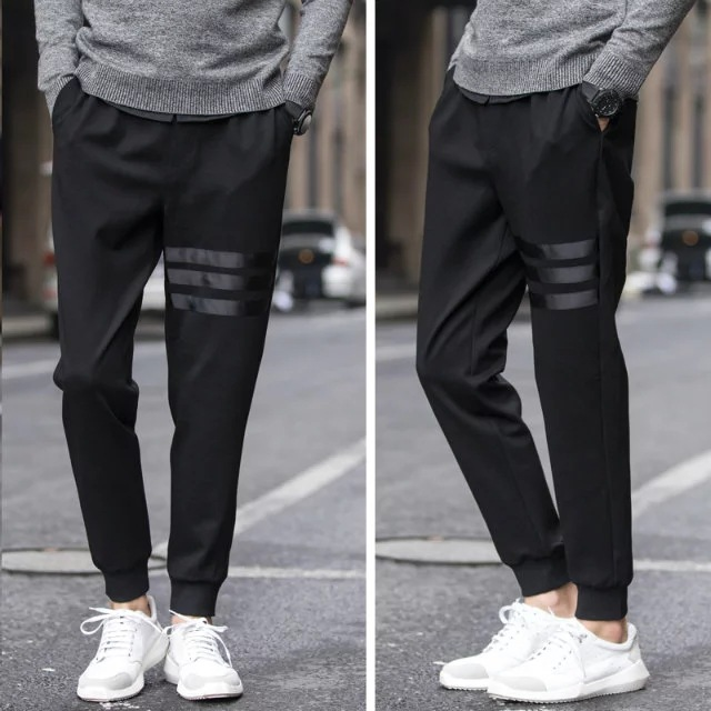 Men Casual Skinny Athletic Pants Sweatpants Slim Fit Ankle Banded Pants Fashion Man Harem Pants With Drawstring Pure Black Leath