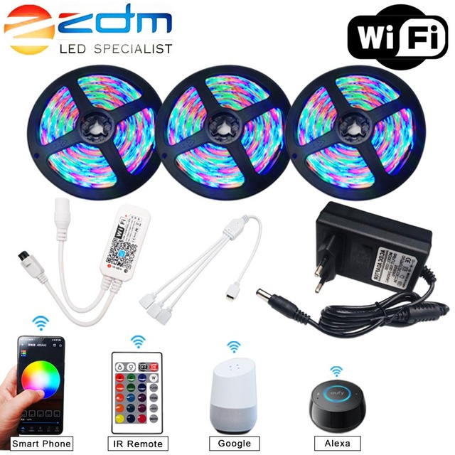 5M 10M 15M WIFI LED Strip RGB SMD 3528 5050 12V Flexible Home Decoration Tira RGB LED Light Strip Waterproof 1