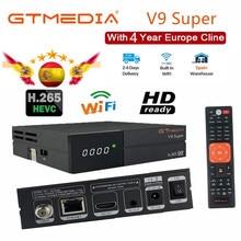 DVB S2 Receiver Gtmedia v9 Super receptor Europe cline for 4 years Built in wifi GT media V9 Super H.265 1080P Same GTmedia V8