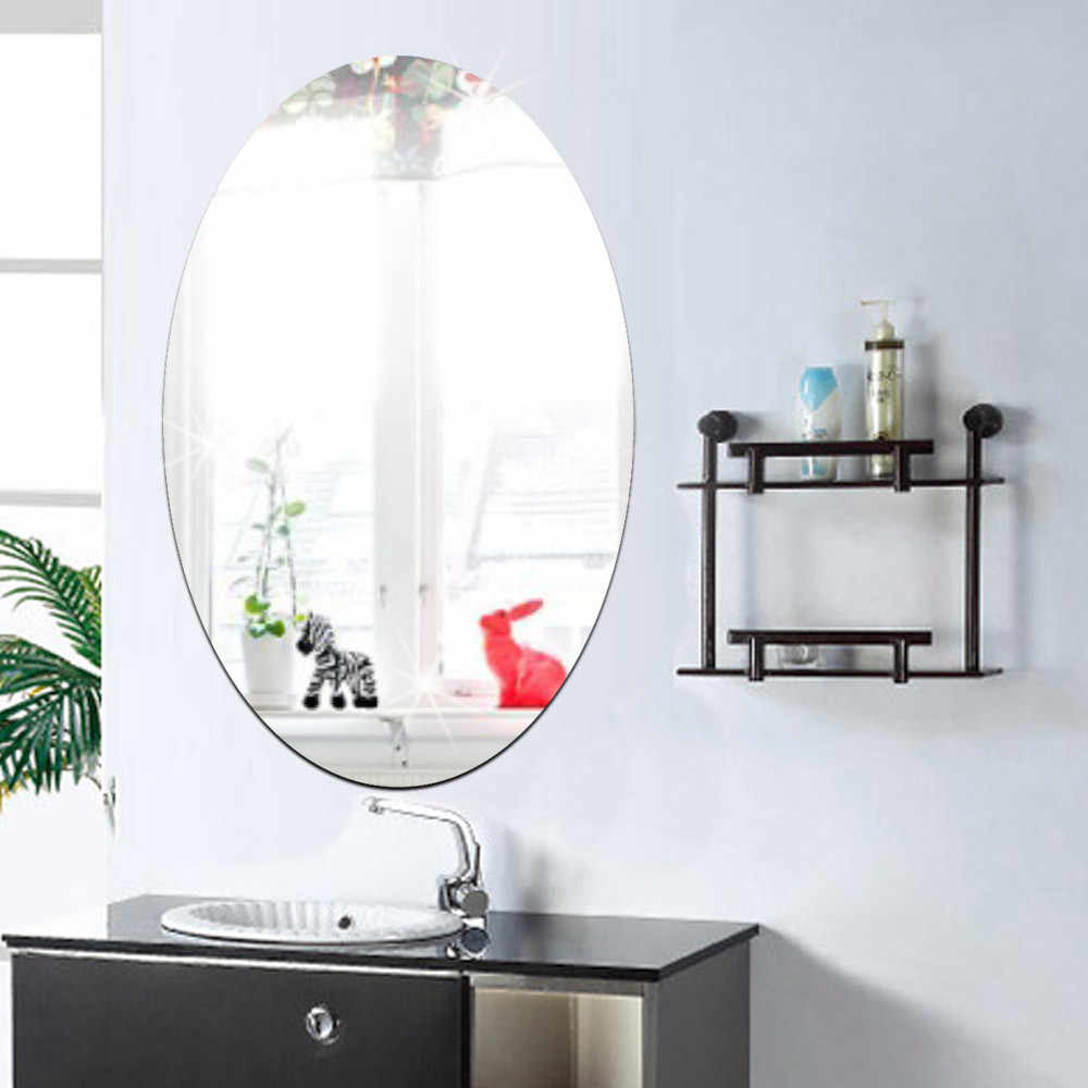27x42cm Bathroom Self Adhesive Wall Sticker 3d Effect Mirror Removable Oval Mirror Sticker For Home Decoration Decorative Mirrors Aliexpress
