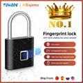 Дверной смарт-замок Towode, Перезаряжаемый USB-замок без ключа, с быстрой разблокировкой по отпечатку пальца, из цинкового сплава, с чипом собств...