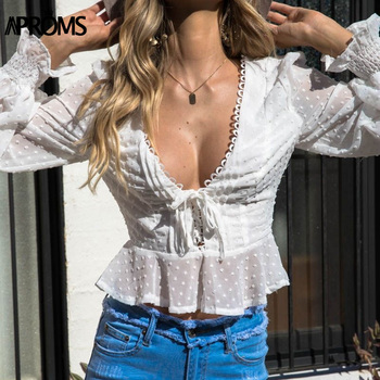 Aproms Vintage Polka Dot Lace-up Chiffon Mesh Blouse Women Casual V-Neck Side Zipper White Blouses Female Long Sleeve Top 2020 polka dot zip up side dress