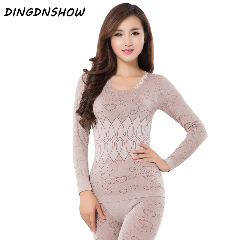 2020 Thermal Underwear Warm Winter Print Seamless Antibacterial Intimates Sexy Ladies Clothes Print Long Johns Women Shaped Sets(China)