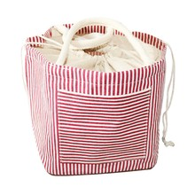 Portable Beam Mouth Drawstring Custom Household Convenient Folding Striped Storage Bag Large Capacity Canvas