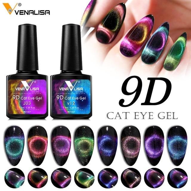 New Nail Art Design Manicure Venalisa 7.5Ml Soak Off Enamel 9d cat eyes magnetic Gel Polish UV Gel Nail Polish Lacquer Varnish 3