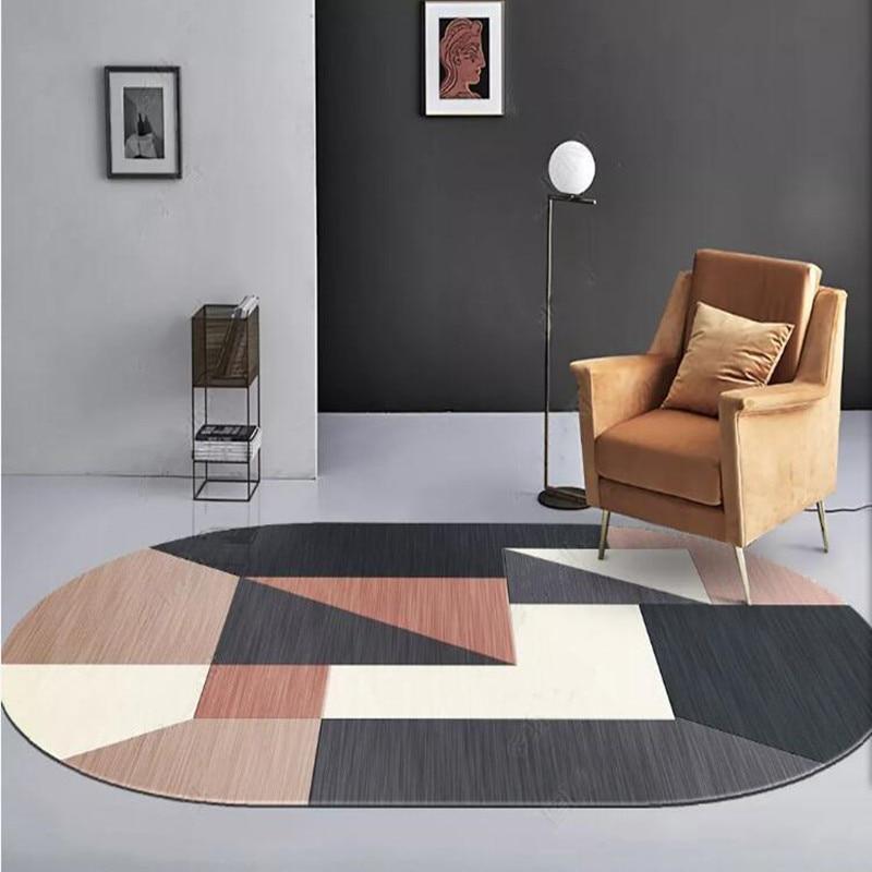 Modern Living Room Bedroom Coffee Table Large Size Geometric Rug Entrance Hall Doormat Nordic Simple Crystal Velvet Oval Carpe