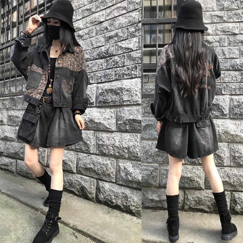 Vintage Leopard Denim Jacket Women 2020 wiosna Harajuku Punk kurtki dżinsowe płaszcz kobieta koreański BF luźna kieszeń moda Streetwear