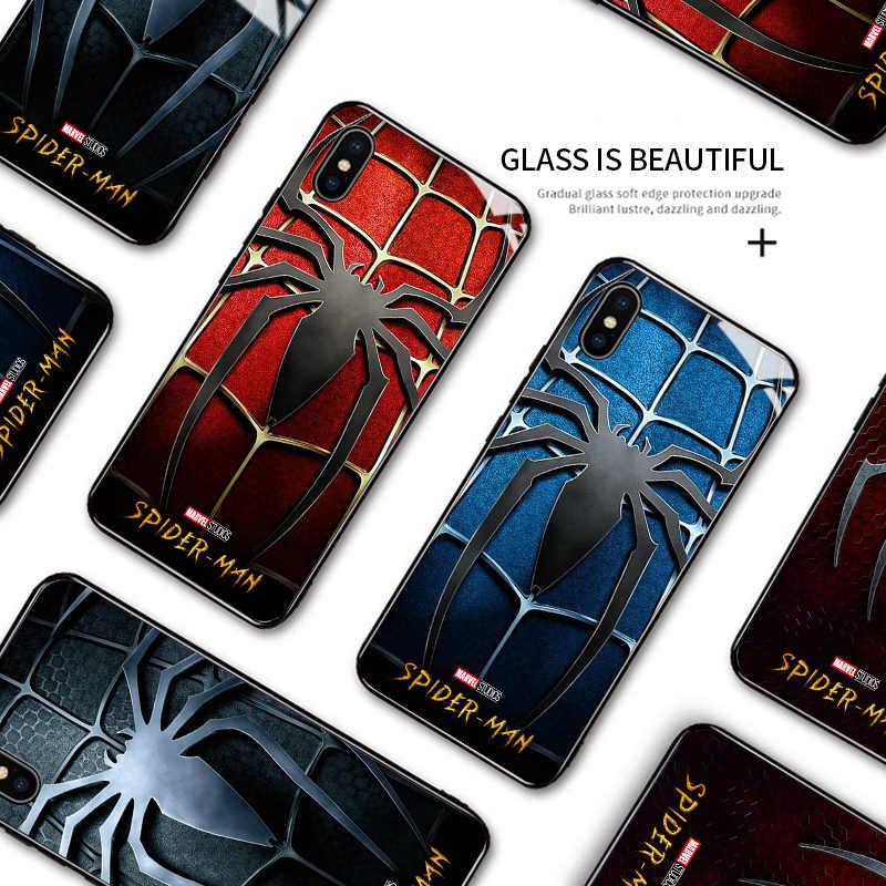 Para huawei nova 2i maimang6 companheiro 10 lite marvel spiderman spiderman caso logotipo à prova de choque borda macia vidro temperado capa traseira embalagem
