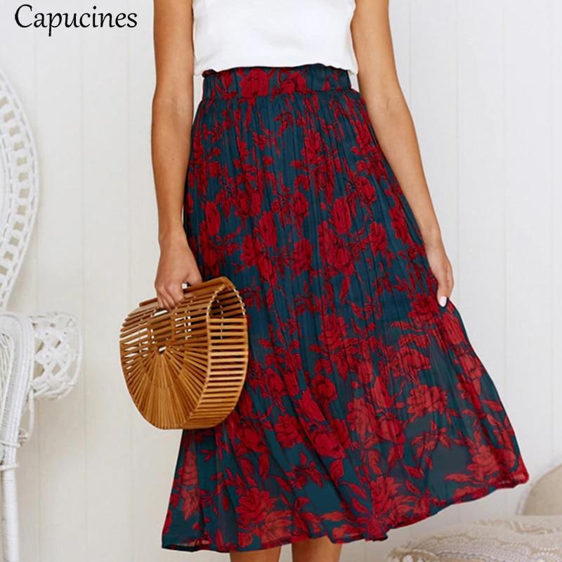 Capucines Boho Print Pleated Midi Skirt Women Summer Pockets Elastic High Waist Skirts Elegant Female Beach Casual Bottom
