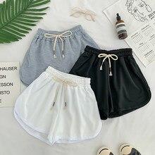 Sznurowane spodenki w stylu Casual, letnia damska prosta elastyczna szczupła proste spodenki moda damska plaża wysokiej talii czarne białe spodenki damskie