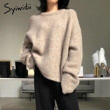 Pull en cachemire pour femme, surdimensionné, manches chauve-souris, couleur unie, mode coréenne, hiver 2021