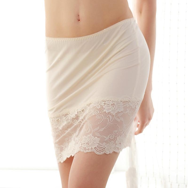 Natural silk plus size intimates sexy lace half slip dress petticoat woman underskirt underdress slips chemise enaguas(China)