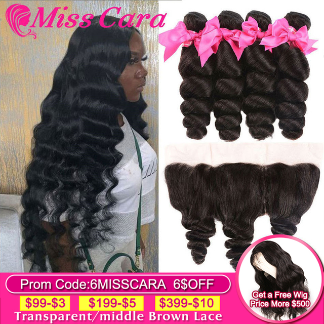 $ US $80.59 Peruvian Loose Wave Bundles With Frontal 100% Human Hair 3/4 Bundles With Frontal Miss Cara Remy Hair Frontal With Bundles