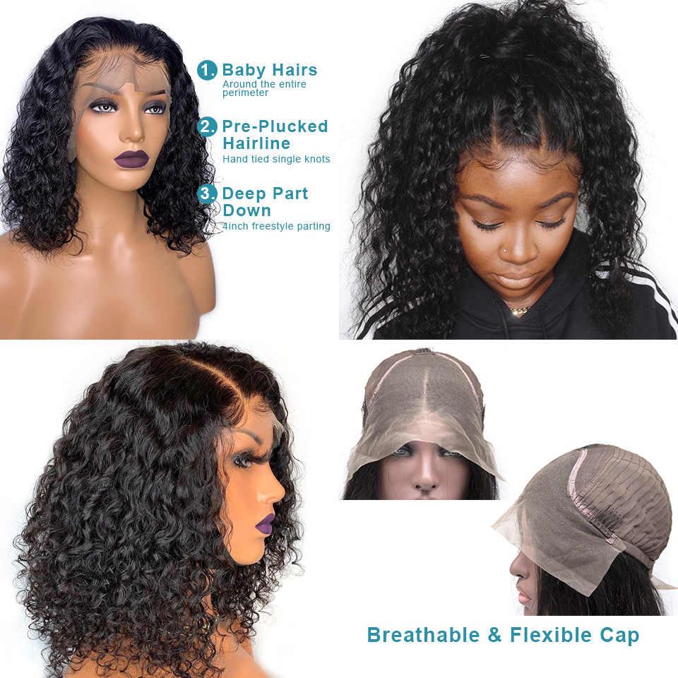 Krótkie kręcone ludzkie włosy peruka Bob peruka z kręconych włosów typu kinky brazylijski Remy włosy dla kobiet pre-oskubane peruki głęboka fala