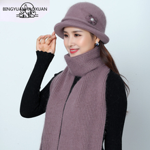 New Women Mother Hat Set Winter Scarf for Rabbit Fur Fedoras Hats Knitted Bucket Warm