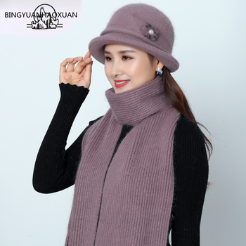 New Women Mother Hat Set Winter Scarf Hat Set for Women Rabbit Fur Hat Fedoras Hats Winter Knitted Women Bucket Hat Warm stylish mixed color knitted bucket hat for women