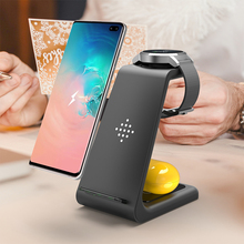 3 In 1 QI Wireless Charger 10 วัตต์สำหรับ IPhone 11 Pro Charger Dock สำหรับ Apple นาฬิกา 5 4 Airpods Pro Wireless Charge Stand