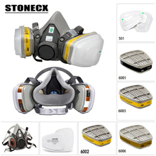9in1 6200 N95 PM2.5 Half Face Gas Mask Respirator Painting Spraying Acid gas organic vapor with 6001/6002/6003/6005 Filter