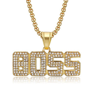 Хип-хоп ледяной CZ с надписью BOSS подвески ожерелья для женщин мужчин золото цвет нержавеющая сталь высокое качество Bling ювелирные изделия му...