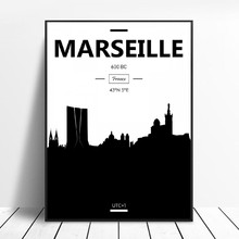 Toile de peinture murale avec ville de Marseille, photos d'art, affiches et imprimés en noir et blanc, décoration de maison pour salon