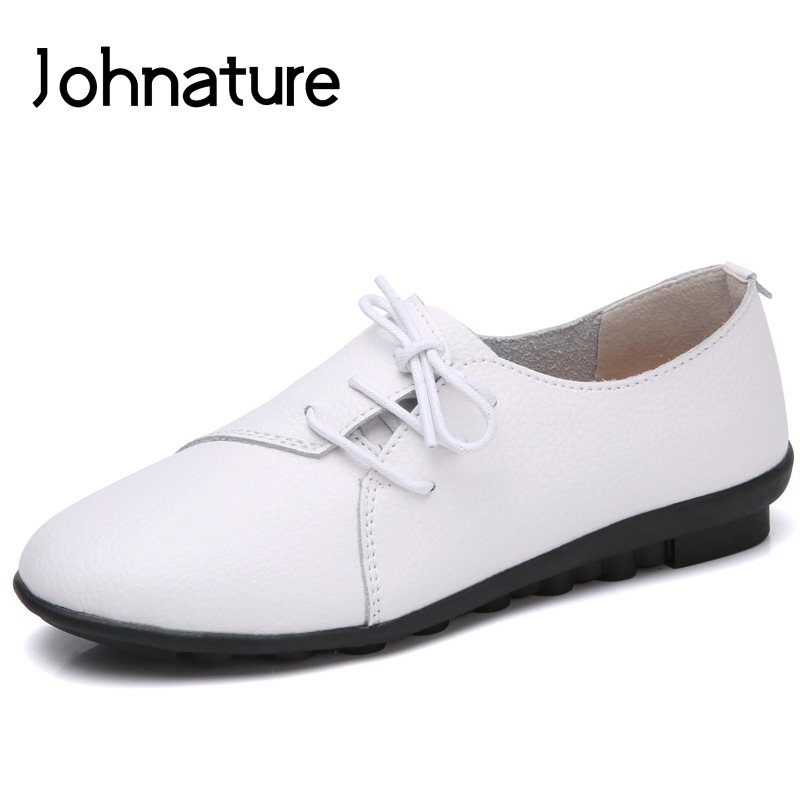 Johnature 2020 חדש אביב/סתיו בעבודת יד אמיתי עור עגול הבוהן שרוכים פנאי רך בלעדי נוח נעלי נשים משאבות