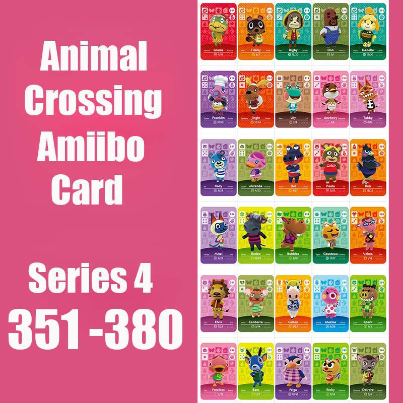 Series 4 (351-380) Animal Crossing Card Amiibo Card Work For NS 3DS Games Series 4 Dropshipping Animal Crossing Amiibo Card