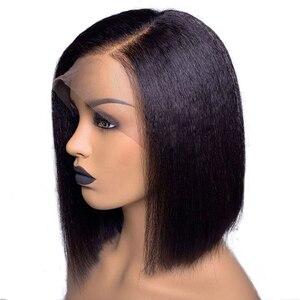 Image 4 - Kinky reta bob peruca frente do laço peruca de cabelo humano curto brasileiro remy peruca do laço pré arrancado para preto feminino descorado nós