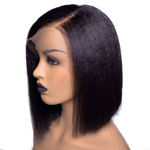 Image 4 - Peluca recta con corte Bob rizado, peluca de cabello humano con encaje frontal, pelo Remy brasileño corto, peluca de encaje prearrancada para mujeres negras, nudos blanqueados