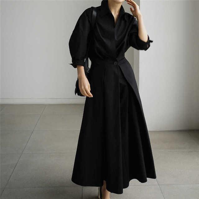 [EWQ] Korea Chic Autumn Casual Trend Women Solid New Lapel Single Button Loose Fashion Long-sleeved Shirt Dress 2021 16E1954 2