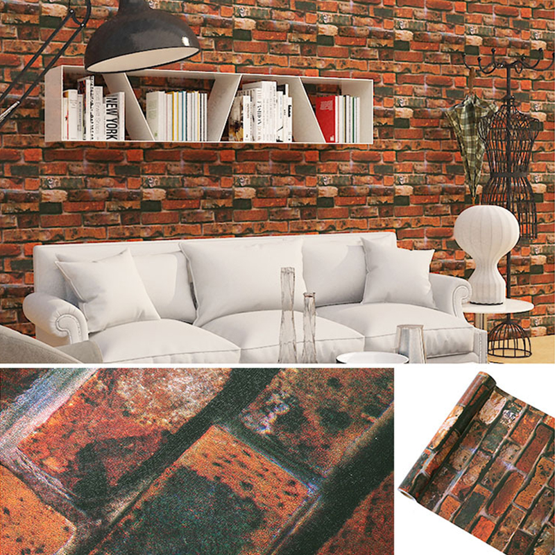 Vinyl Self Adhesive Wallpaper Brick PVC Wall Stickers Waterproof Brick Wall Paper For Living Room Kitchen Bathroom Bedroom Decor