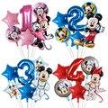 6 шт воздушные шары в форме Микки, Минни из мультфильма День рождения украшения звезда количество воздушных шаров для детей День рождения Де...