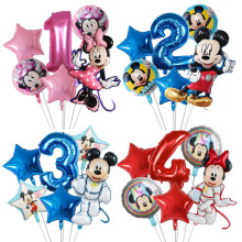 6Pcs Mickey Minnie Balloons Cartoon Birthday Party Decorations Star Number Balloons For