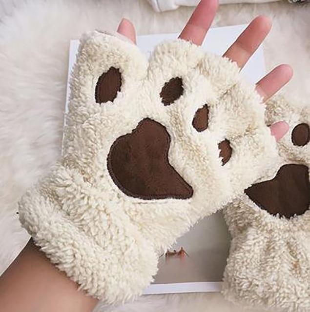 Women Bear Plush Cat Paw Claw Gloves Winter Faux Fur Cute Kitten Fingerless Mittens Gloves Christmas Halloween for Womens Girls 4