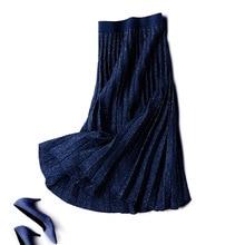 Elastic High Waist Kintted Skirts For Women 2019 Winter Pleated Skirt Solid A-Line Skirt For Women Elegant Long Skirt Saia Falda