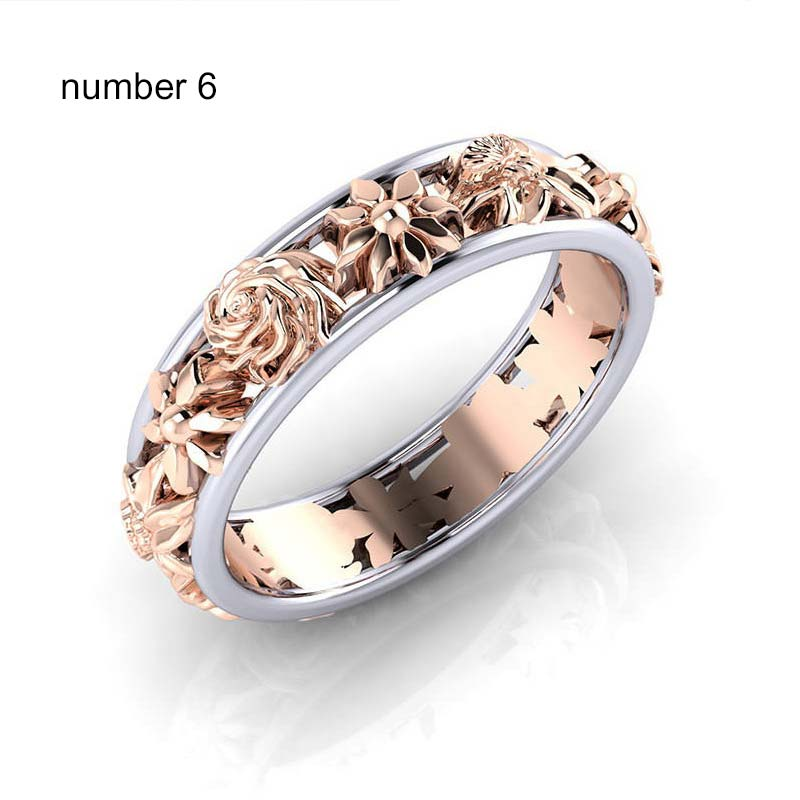 Natural elegant flowers rings women girl rose gold Hollow ring flower design chain rings female wedding engagement charm jewelry in Rings from Jewelry Accessories