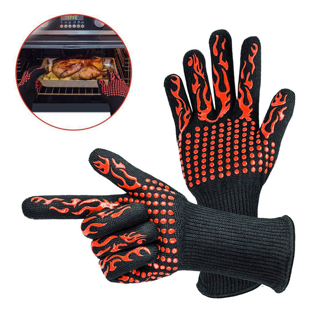 Горячая 1 пара барбекю гриля кулинарные перчатки экстремальные Жаростойкие духовые перчатки NDS
