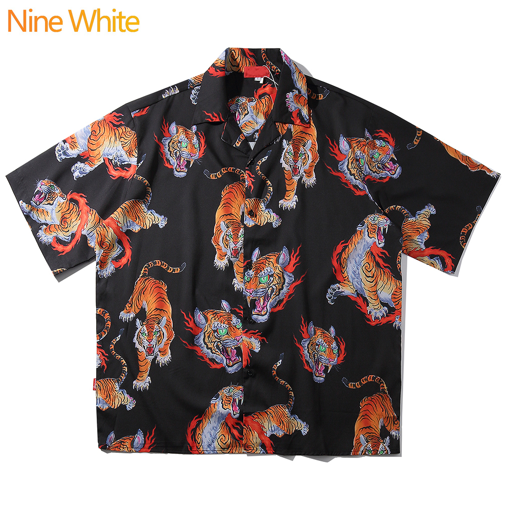 2020 Hip-hop Shirt Street Style Men's Hawaiian Shirt Tiger Pattern Original Summer Beach Shirt Shirt Short Sleeve New