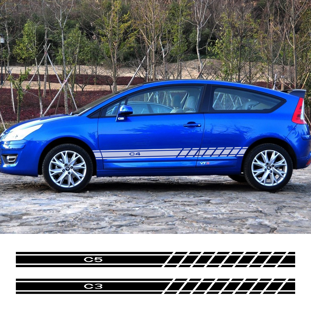 Автомобильные аксессуары для Citroen C4 C1 C5 C3 C6 C-ELYSEE VTS, 2 шт., автомобильные виниловые декоративные наклейки на дверь автомобиля, боковые юбки в п...