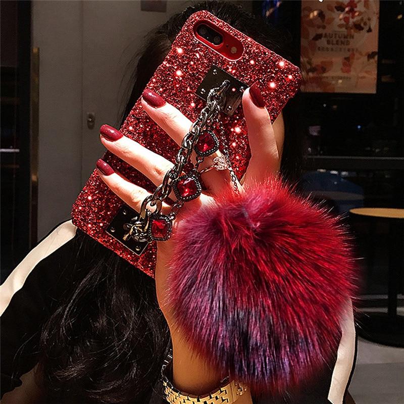 Reno 2f 2z diamante pulseira de pulso glitter caso telefone duro para oppo realme c15 c12 c11 6 pro a9 2020 casos telefon kilifi coque