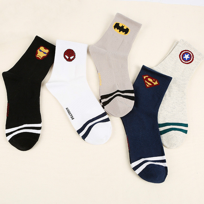 New Marvel Comics Hero Ordinary Sock Cartoon Iron Man Captain America High Temperature Stitching Pattern Casual Men's Socks