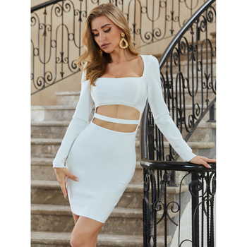 White Long Sleeve Bodycon Bandage Dress short Hollow Out Celebrity Runway women sexy dresses party night club dress 2020 autumn wannathis long sleeve turtleneck autumn party dress women hollow out bodycon elegant sexy knitted mid dresses women cotton white