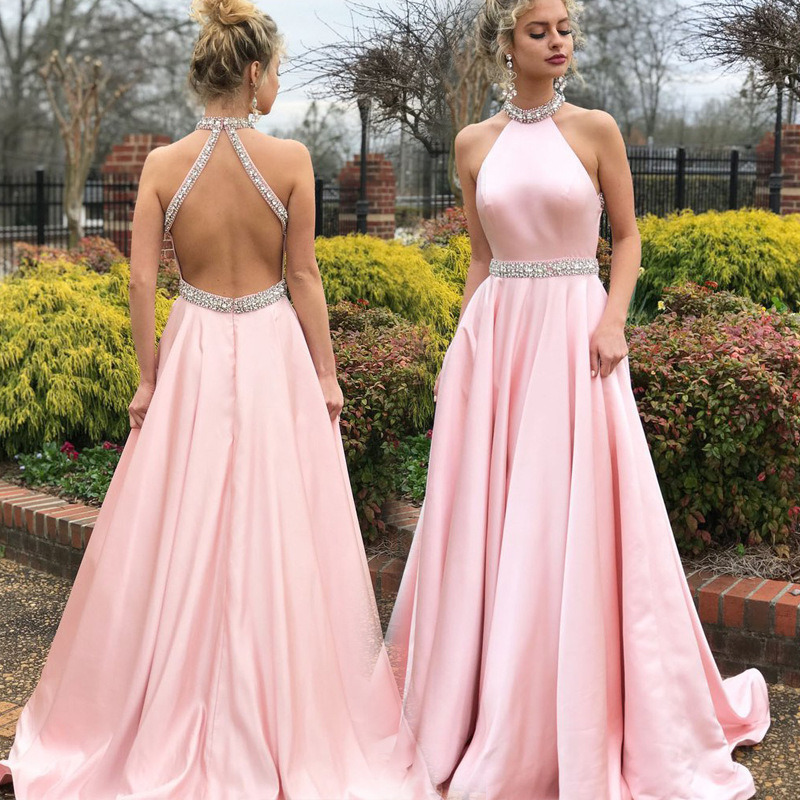 Sexy Bridesmaid Dresses Women Pink Sleeveless O-Neck Sleeveless Sequined Maid Of Honor Woman Dresses For Party And Wedding