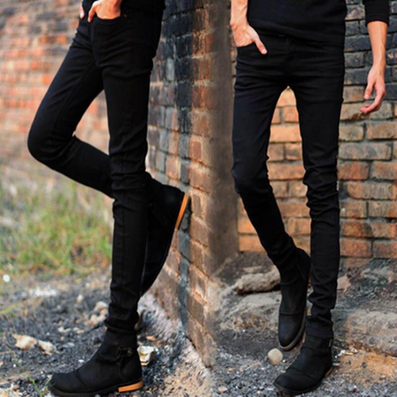 New 2020 Fashion Men's Skinny Jeans Men  Teenagers Streetwear Trousers Men's Stretch Slim Feet Men's Korean Boys Black Pants